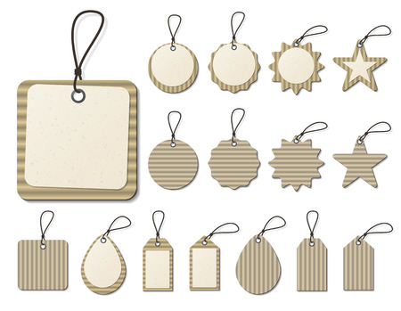 set of blank cardboard tags and labels with strings