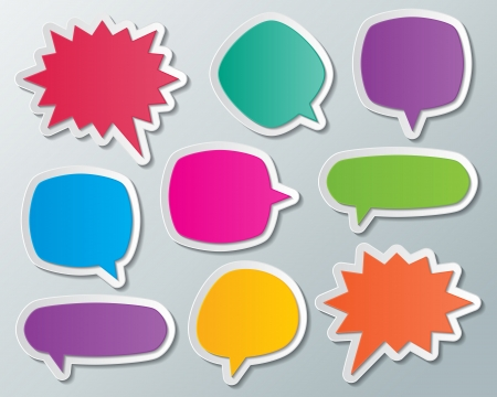 set of blank multi colored paper speech bubbles  infographic elements