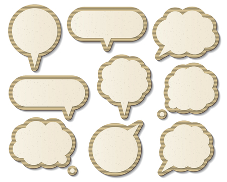 recycled paper: set of blank cardboard paper speech bubbles. infographic elements.