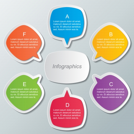 set of multi colored speech bubble infographic templates  infographic elements