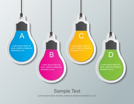 four paper light bulb signs hanging on the wall
