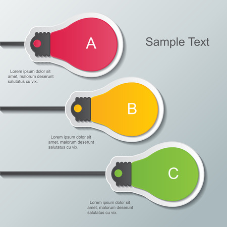 three paper light bulb signs on the wall  infographic elements  Vector