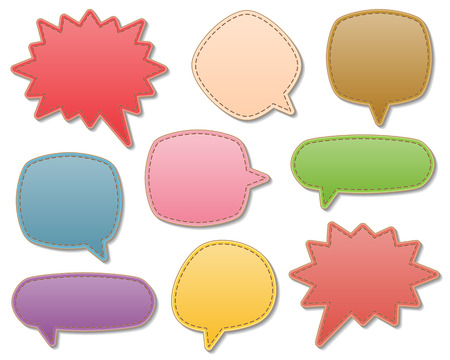 set of blank colorful leather speech bubbles with stitch