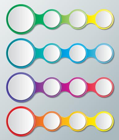 four sets of colourful business concept infographic circles background Ilustração