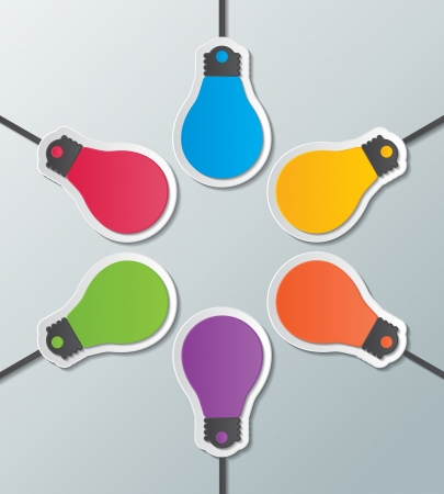 six paper light bulb signs on the wall  infographic elements