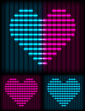 neon color: abstract pink and blue neon lights on dark background  Illustration