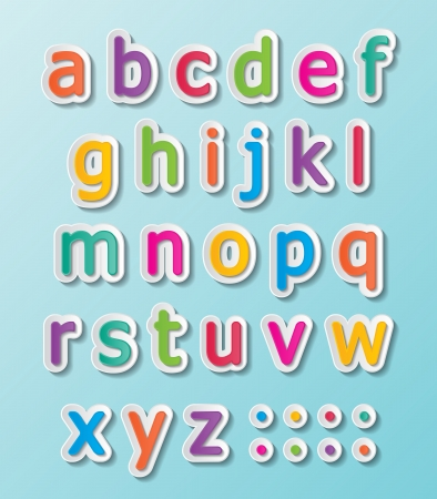 colorful paper font signs. smalll letters A-Z.
