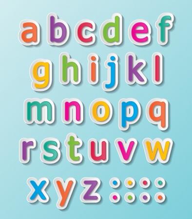 colorful paper font signs. smalll letters A-Z. Фото со стока - 24907235