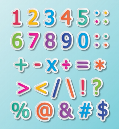 assign: colorful paper font signs. numbers and symbols.