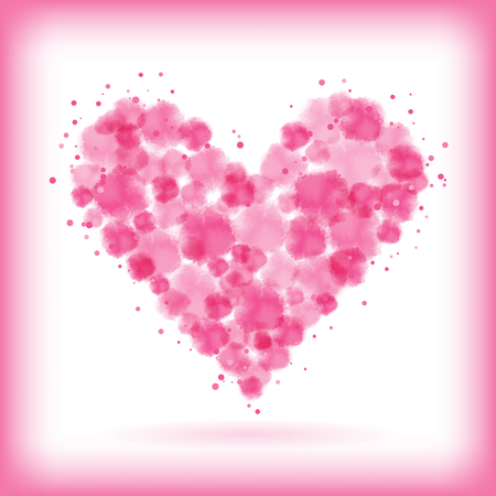 abstract pink watercolor drops within heart shape. Ilustração
