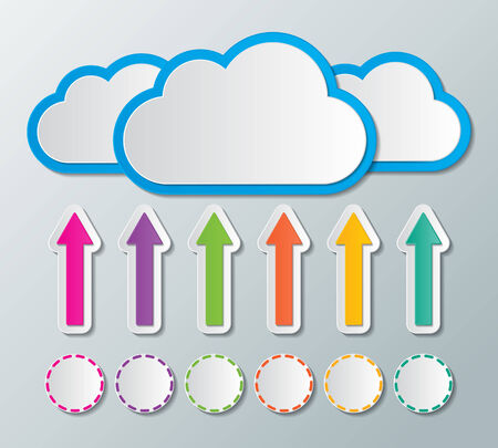 cloud icon: clouds stroge with arrow and circle sign  cloud computing concept