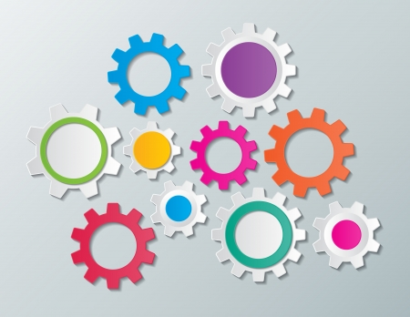 colorful paper gear wheels infographic elements