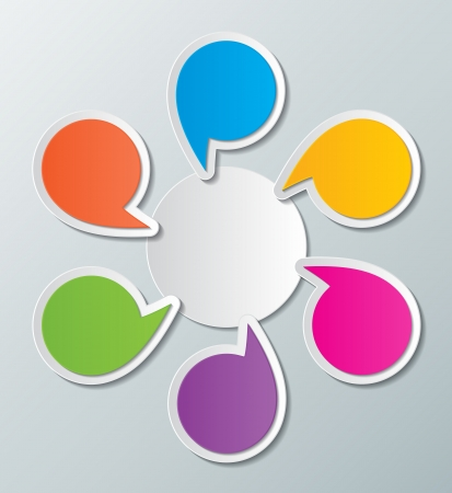 seis habla de papel de colores en blanco burbujas elementos infográficos
