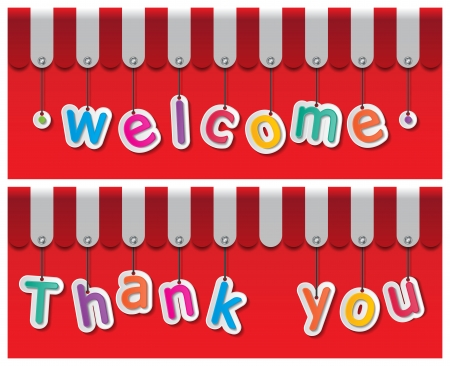 storefront welcome and thank you signs hanging with awning Vector