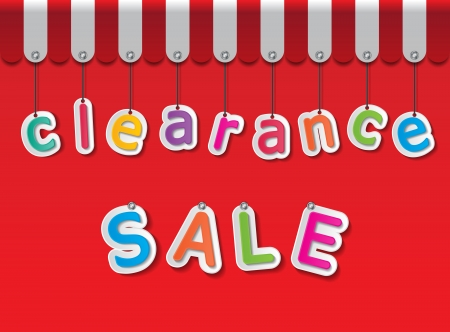 clearance sale: colorful paper clearance sale tags on red background and awning