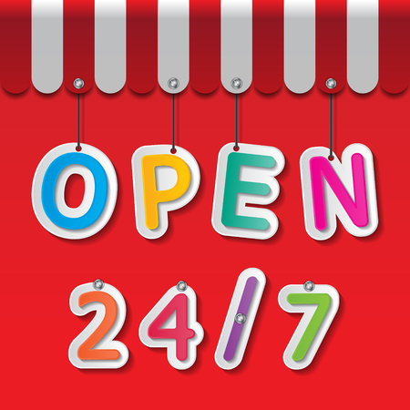 colorful paper open 24 7 signs on red background and awning Vector