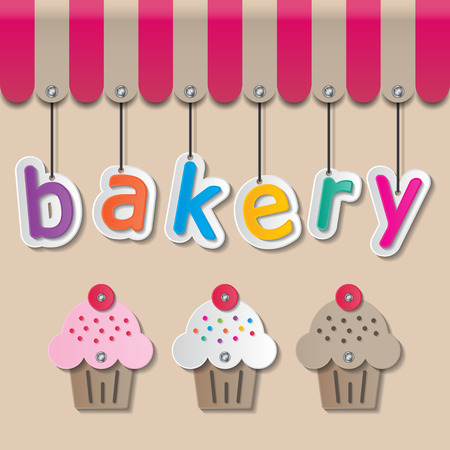 bakery store: colorful paper bakery signs on brown background and awning