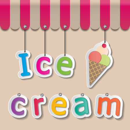 colorful paper ice cream signs on brown background and awning Ilustrace