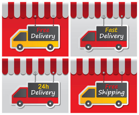 paper delivery signs on red and white background with awning Vector
