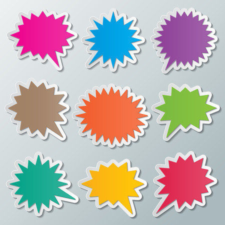 set of blank colorful paper starburst speech bubbles