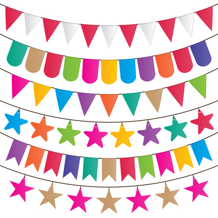 bunting and garland decoration vector set  Vector