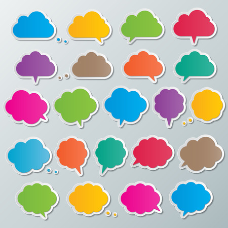 buble: colorful paper cloud shape speech buble infographic templates