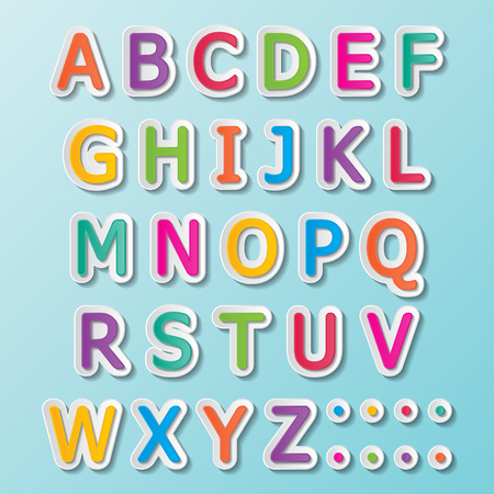 colorful paper font signs  capital letters A-Z