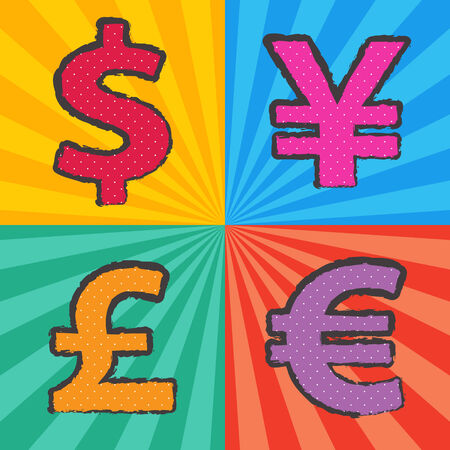 yen sign: retro currency symbol in pop art style with sunburst background