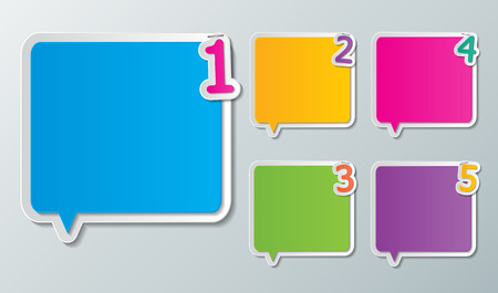 set of blank colorful paper speech bubbles with number 1-5  Vector