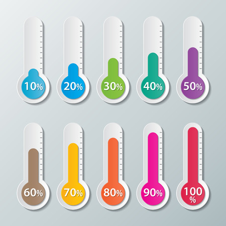 thermometers: colorful  infographics paper thermometer with 10-100 percentage