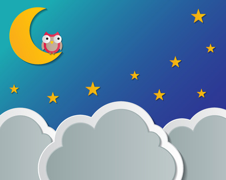 paper cloud, moon, star and owl  night scene   Vector
