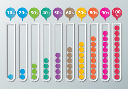 colorful  infographics paper chart with 10-100 percentage