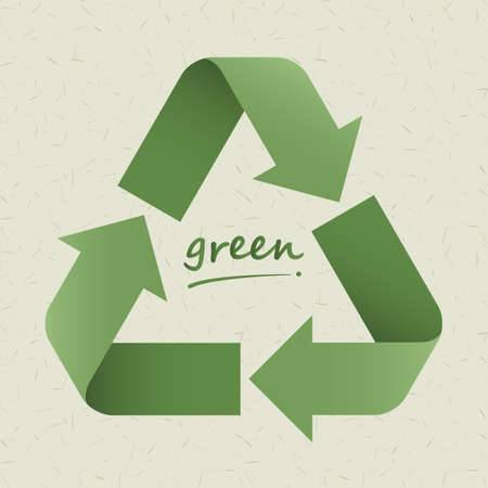 recycle symbol on light  green cardboard   Vector