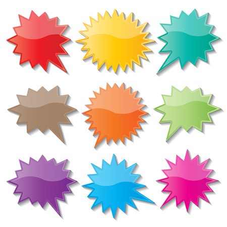 set of blank colorful paper starburst speech bubbles. Ilustração