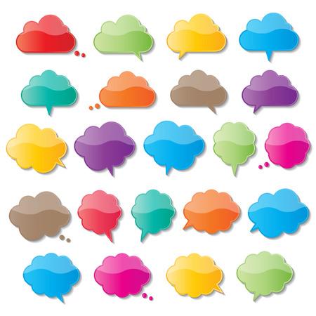 colorful paper cloud shape speech bubbles.