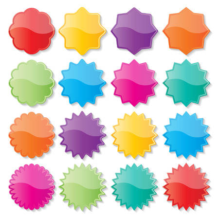 set of blank colorful paper seals  stickers for website  일러스트