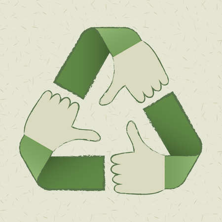 recycled paper: recycle hands symbol on light  green cardboard background  Illustration
