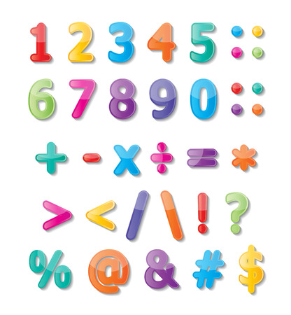 assign: colorful paper font signs  numbers and symbols  Illustration