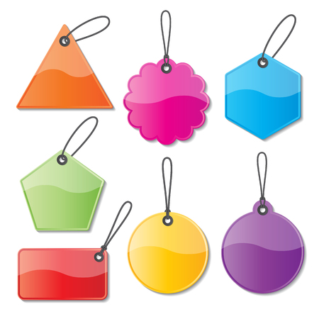 set of blank colorful paper price tags and labels with strings Vector
