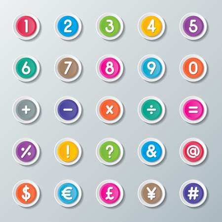assign: numbers 0 to 9 and symbols on colorful paper buttons Illustration