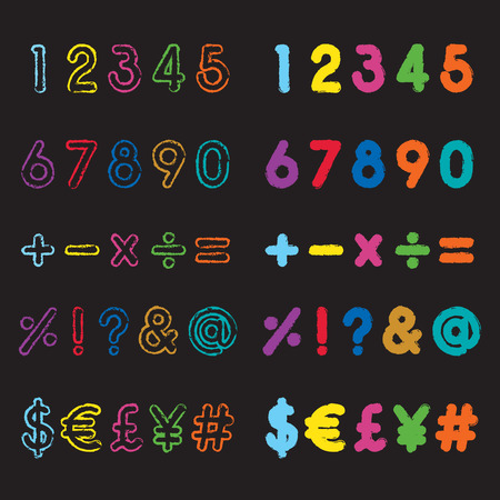 assign: colorful grunge style number and symbol fonts Illustration