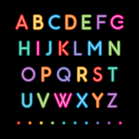 colorful neon capital letters a to z fonts Vector