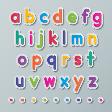 concepts alphabet: colorful paper small letters a to z fonts