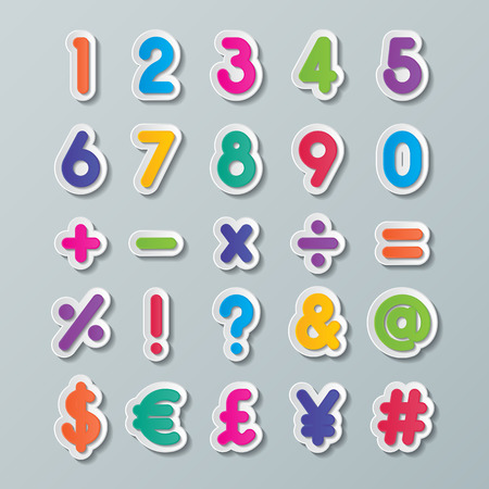 assign: colorful paper number and symbol fonts