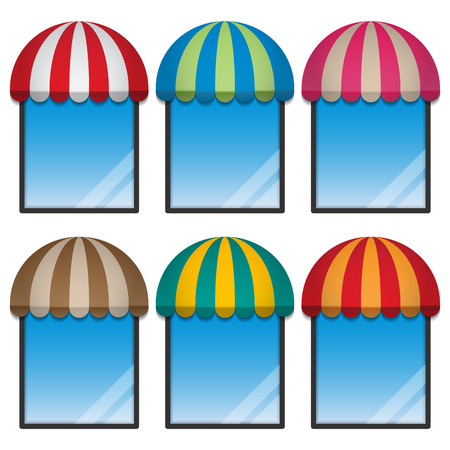 round window: storefront with round awning and display window Illustration