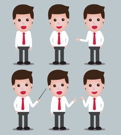 set of six charactor businessmen standing and posting Vector