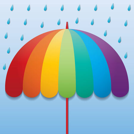 raining: rainbow color umbrella in raining sky background Illustration