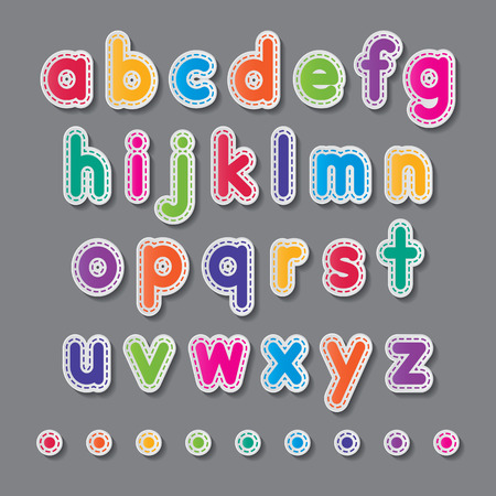 colorful paper small letters a to z fonts