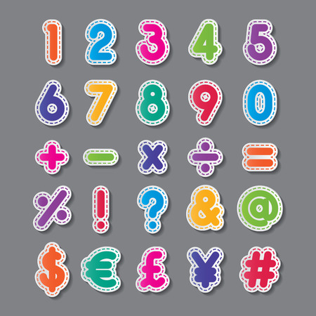 colorful paper number and symbol fonts