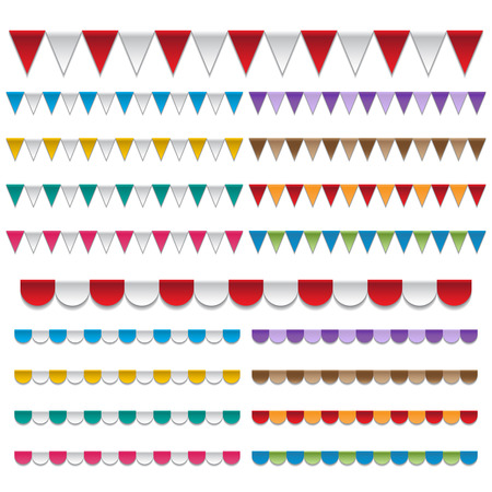 awnings: mixed colors awnings  frames and backgrounds vectors  Illustration